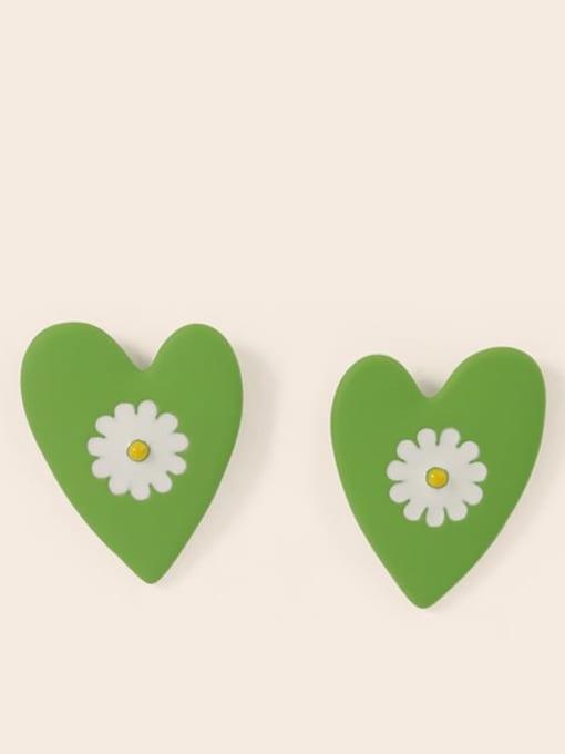Green white Alloy Enamel Heart Cute Stud Earring