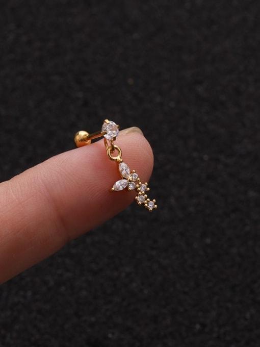Gold 5#(Single) Brass Cubic Zirconia Geometric Cute Stud Earring