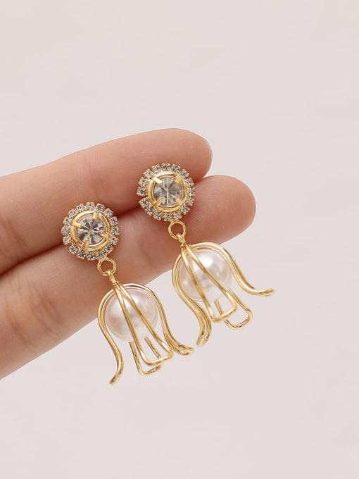 HYACINTH Brass Imitation Pearl Geometric Ethnic Drop Earring