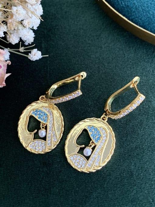 SUUTO Brass Cubic Zirconia Geometric Vintage Huggie Earring 1