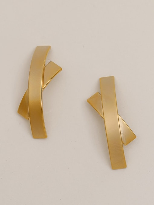 Dumb gold Brass Smooth Cross Vintage Stud Earring