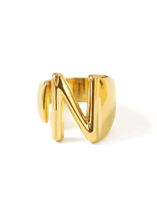 N Brass  26 Letter Vintage Band Ring