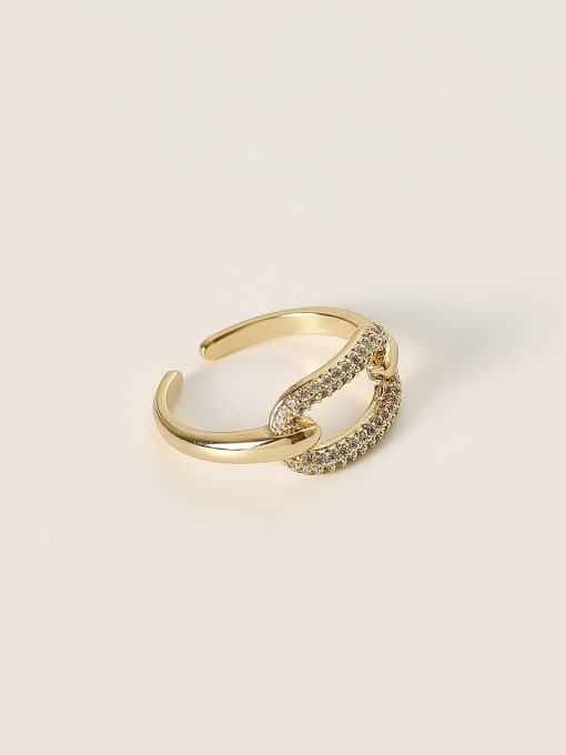 HYACINTH Brass Cubic Zirconia Geometric Minimalist Band Ring 0