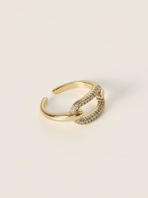 HYACINTH Brass Cubic Zirconia Geometric Minimalist Band Ring