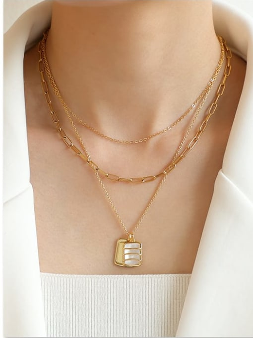 Five Color Brass Shell Geometric Vintage Multi Strand Necklace 1
