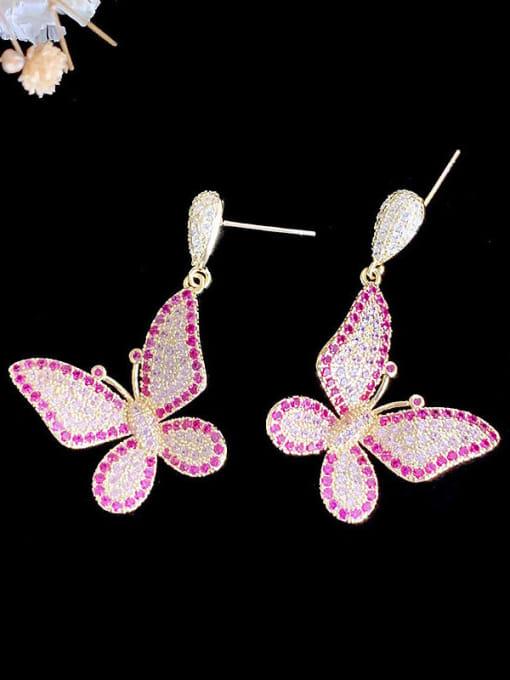 SUUTO Brass Cubic Zirconia Butterfly Trend Drop Earring 3