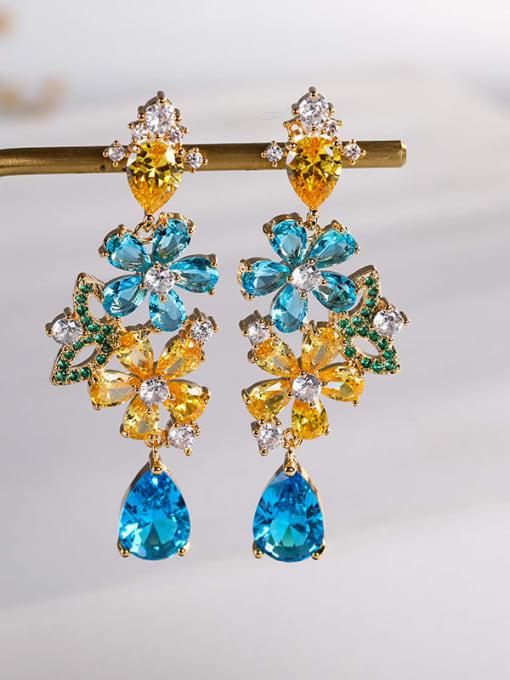 Navy Brass Cubic Zirconia Flower Luxury Drop Earring