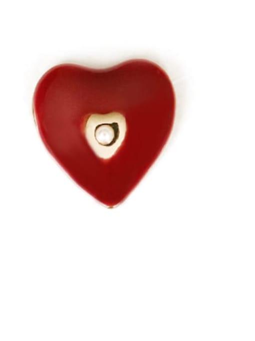 Five Color Alloy Enamel Heart Cute Stud Earring 2