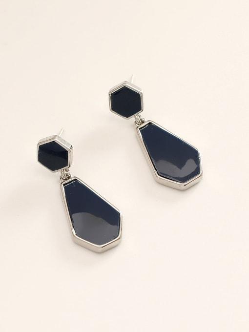 14K royal blue Brass Enamel Geometric Vintage Drop Earring
