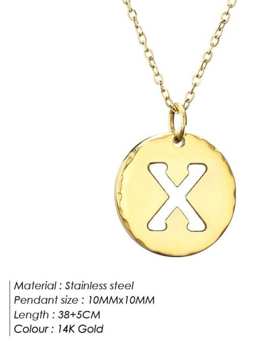 X Titanium Steel Letter Minimalist Round Pendant Necklace
