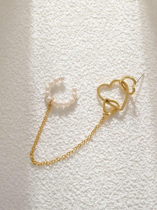 14k gold Brass Imitation Pearl Heart Minimalist Single Earring