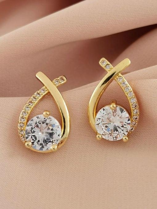 HYACINTH Brass Cubic Zirconia Heart Minimalist Stud Earring 2