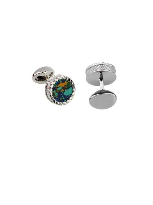 ThreeLink Brass Glass Stone Round Vintage Cuff Link