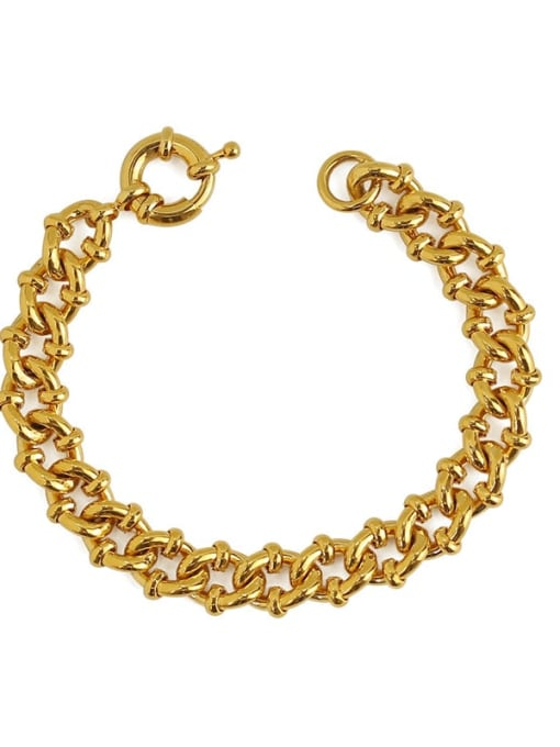 ACCA Brass Hollow Geometric Chain Hip Hop Link Bracelet 4