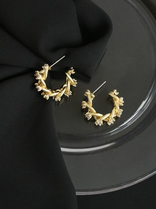Five Color Brass Cubic Zirconia Geometric Hip Hop Stud Earring 2