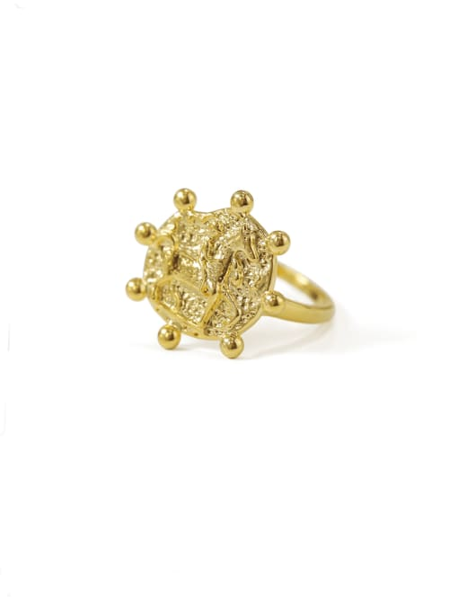 ACCA Brass  Geometric Vintage Band Ring 0