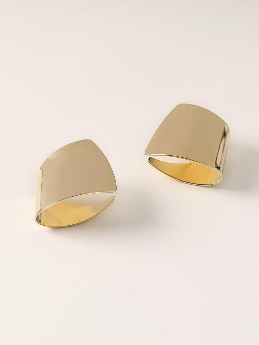 HYACINTH Brass Smooth Geometric Minimalist Stud Earring 0