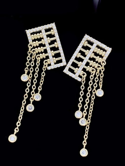 SUUTO Brass Cubic Zirconia Tassel Luxury Drop Earring 1