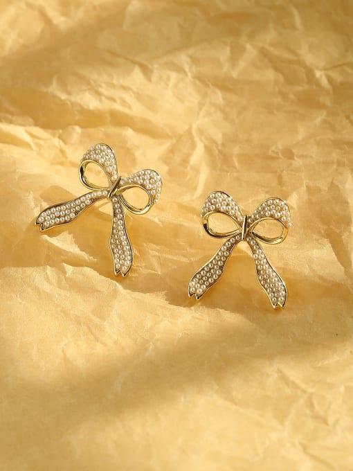 HYACINTH Brass Cubic Zirconia Bowknot Ethnic Stud Earring