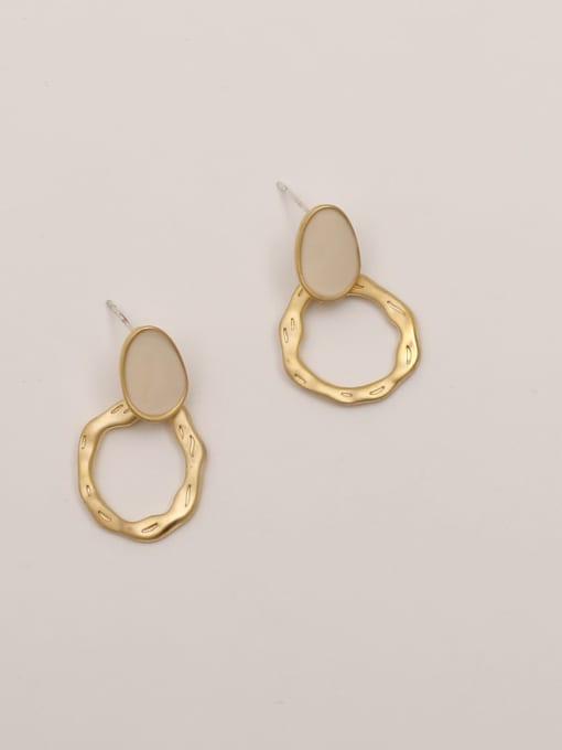 Dumb golden beige Brass Enamel Geometric Vintage Stud Earring