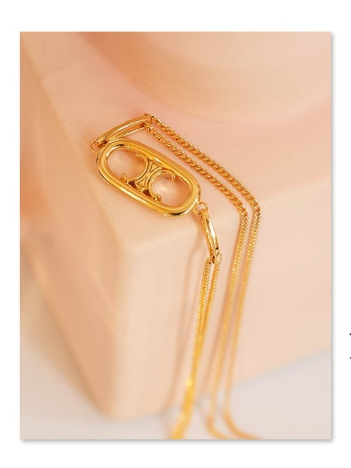 Five Color Brass Geometric Hip Hop Multi Strand Hollow Chain Necklace 3