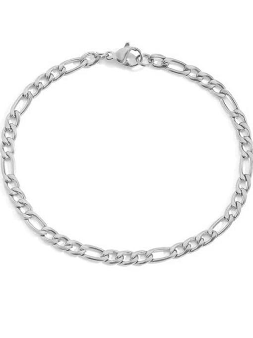 Steel color 4mm 19cm Stainless steel Geometric Minimalist Link Bracelet