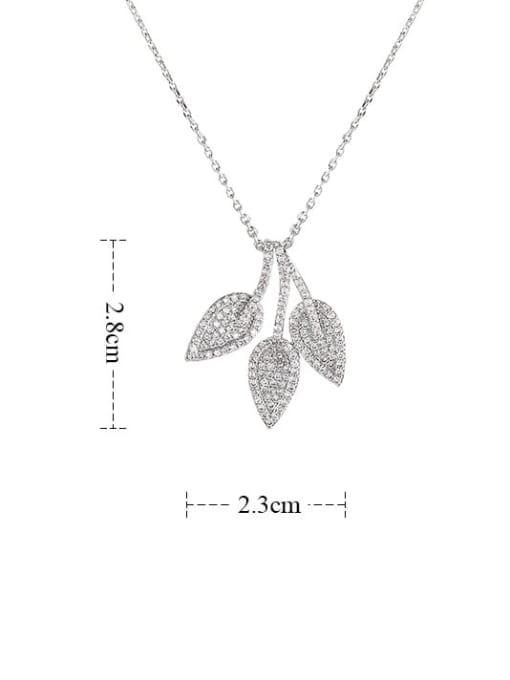 YILLIN Brass Cubic Zirconia Leaf Minimalist Necklace 3