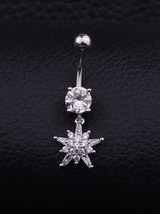 Section B (single) Titanium Steel Cubic Zirconia Flower Hip Hop Belly Rings & Belly Bars