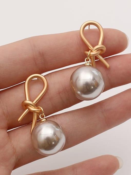 HYACINTH Brass Imitation Pearl knot Vintage Drop Earring 3