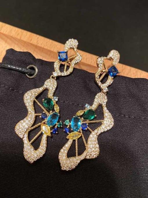 OUOU Brass Cubic Zirconia Irregular Luxury Drop Earring 2