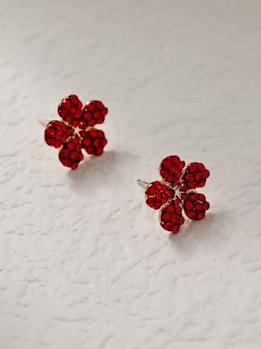 HYACINTH Brass Rhinestone Flower Minimalist Stud Trend Korean Fashion Earring