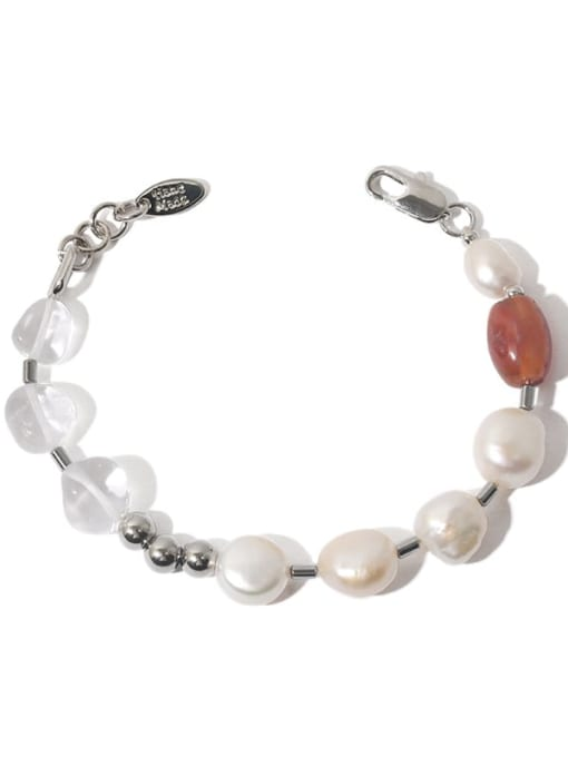 TINGS Brass Freshwater Pearl Geometric Hip Hop Beaded Bracelet