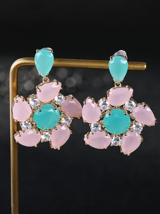 Ice stone Brass Opal Flower Luxury Drop Earring