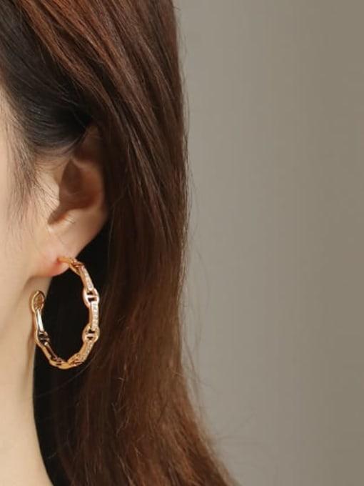ACCA Brass Geometric Vintage Hoop Earring 1