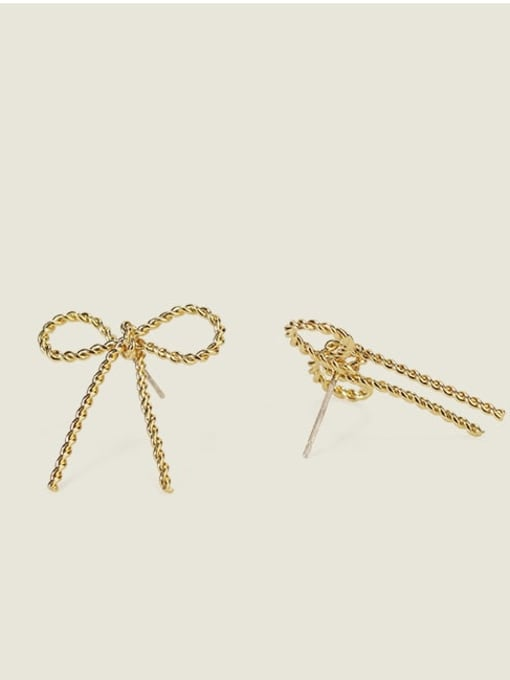 Five Color Alloy Bowknot Cute Stud Earring 2