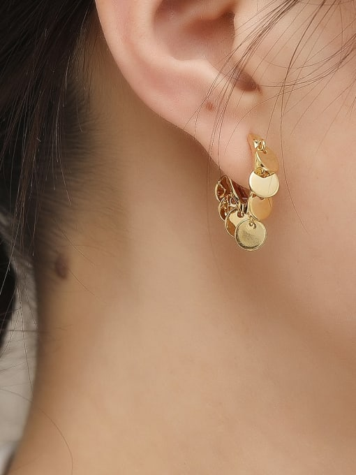 HYACINTH Brass Hollow Heart Vintage Huggie Trend Korean Fashion Earring 1