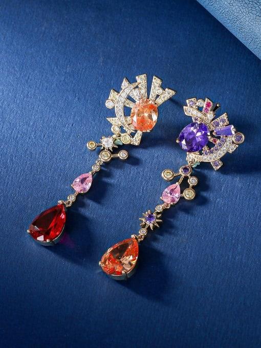OUOU Brass Cubic Zirconia Star Luxury Drop Earring 2