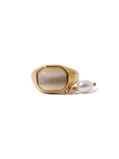 Gold (sold separately) Brass Cats Eye Geometric Vintage Single No pierced ear clip