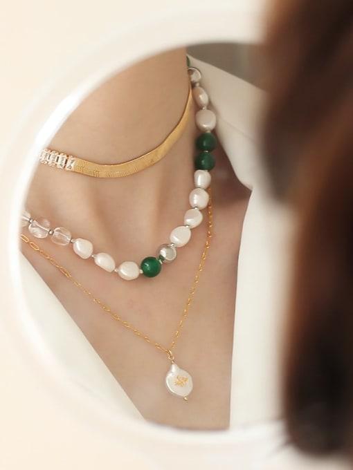 TINGS Brass Imitation Pearl Geometric Minimalist Natural stone Necklace 1