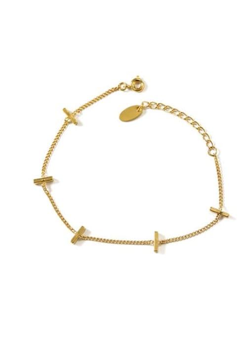 ACCA Brass Cross Minimalist Link Bracelet