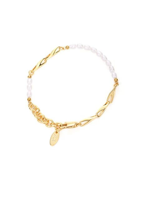 Pearl Bracelet Brass Imitation Pearl Geometric Hip Hop Link Bracelet