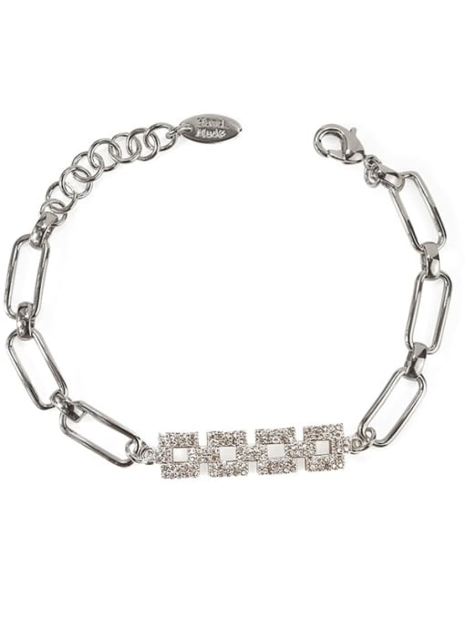 ACCA Brass Cubic Zirconia Geometric chain Vintage Bracelet 3