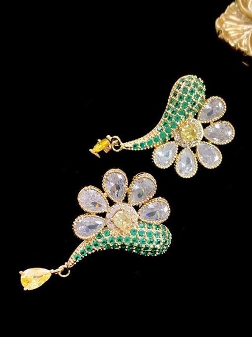 SUUTO Brass Cubic Zirconia Flower Vintage Stud Earring 1