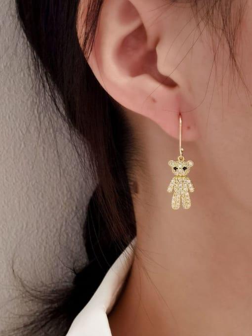 HYACINTH Brass Cubic Zirconia Bear Vintage Hook Earring 1