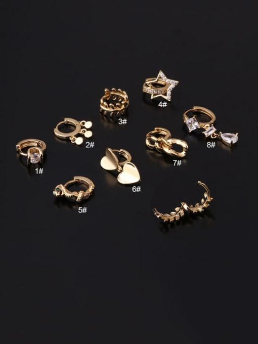 HISON Brass Cubic Zirconia Geometric Hip Hop Huggie Earring 1