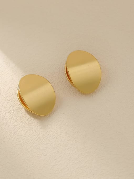 HYACINTH Brass Smooth Geometric Minimalist Stud Trend Korean Fashion Earring