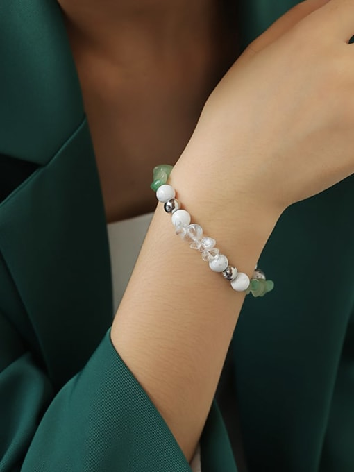TINGS Brass Imitation Pearl Geometric Hip Hop Beaded Bracelet 3