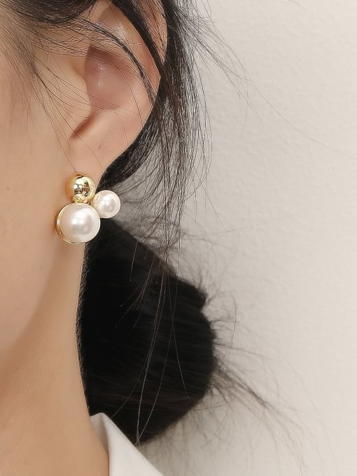 HYACINTH Brass Imitation Pearl Irregular Vintage Stud Trend Korean Fashion Earring 1