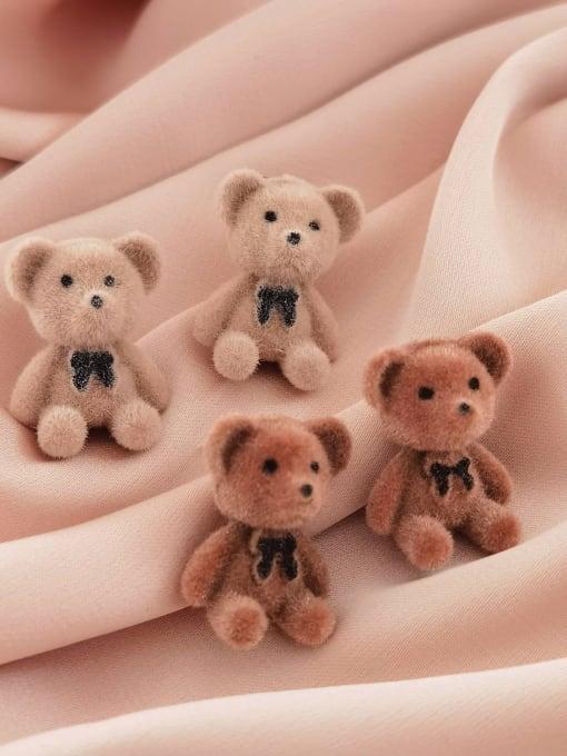HYACINTH Alloy Flocking Bear Cute Stud Earring 2