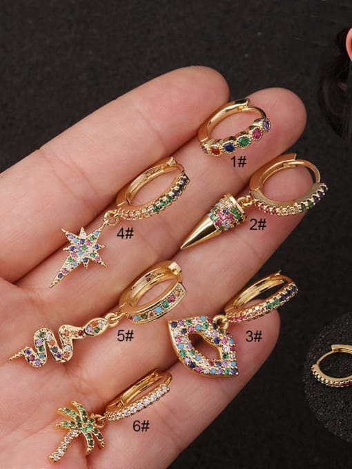 HISON Copper with Cubic Zirconia Multi Color Star Dainty Hoop Earring